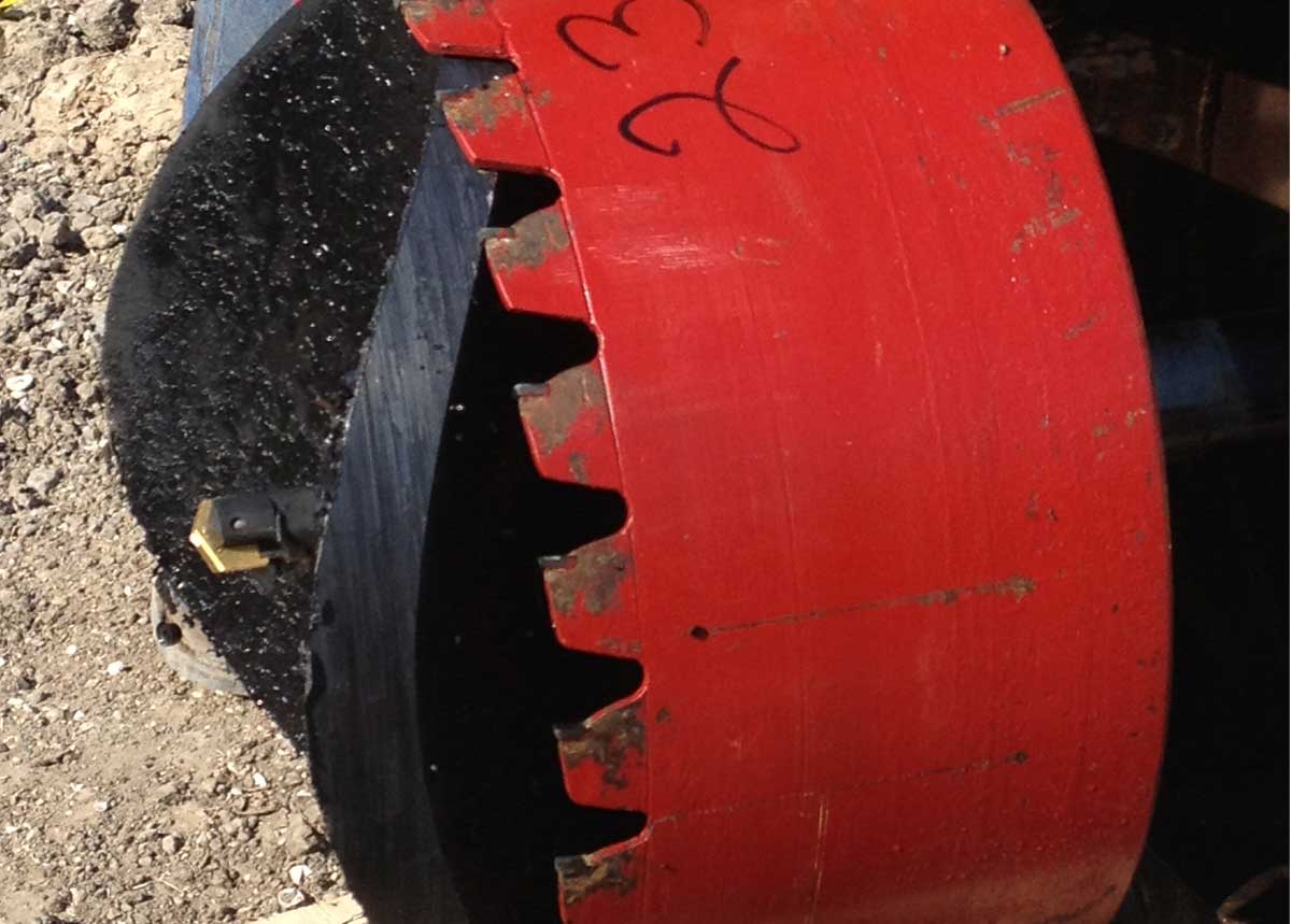 """Hot Tapping HDPE Pipe with a 23"""" with Coupon Retained"""