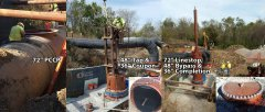 "72"" Pre-Stressed Concrete Pipeline with a 48"" Hottap Coupon Retained and a 72"" Linestop with Completion Plug."